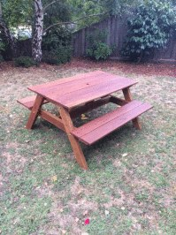 Beautiful DIY childrens spotted gum picnic table stained with Alis light teak