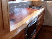 Kitchen Bench top - Treated with the certified food safe and heat resistant Kunos Countertop Oil.