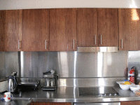 Ply Panels in Kitchen - treated with the non toxic Kaldet Rosewood Stain