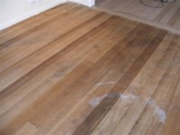 Tasmanian Oak flooring - Carpet removed to expose a stained floor.