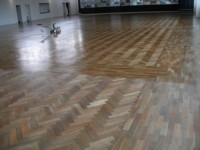 Rejuvenation Spotted Gum parquetry - Surface cleaned with maroon pad (not sanded) and re-oiled.