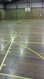 Wantirna Gym floor (before)- sanded off old varnish and re oiled with Kunos natural oil sealer