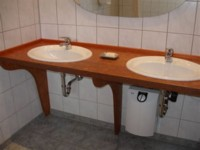 OSB Vanity - Treated with Kaldet Dark Teak Transparent Wood stain, then with the Kunos Natural Oil Sealer.