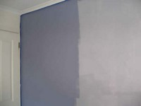 Blue Violet feature wall - Right side first coat, left application of second coat. Deep even colour, pleasant smell.